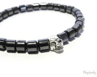 Skull Bracelet, Hematite Bracelet, Gemstone Bracelet, Mens Jewelry, Grey Bracelet, Mens Beaded Bracelet, Stretch Bracelet, Mens Gift