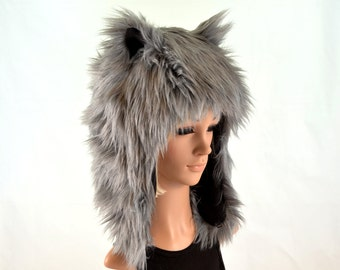 Gray Wolf Hat Faux Fur Animal Hat