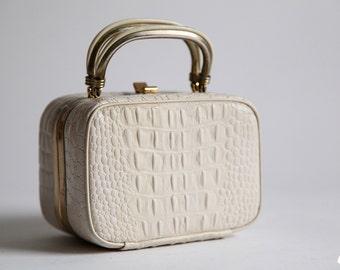 Vintage 50s White Ivory Faux Alligator Print Box Purse