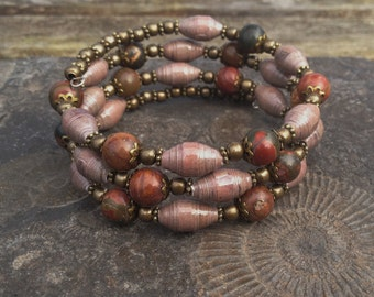 Moss Agate and Brown Paper Bead Brass memory wire bracelet ~ one of a kind jewelry