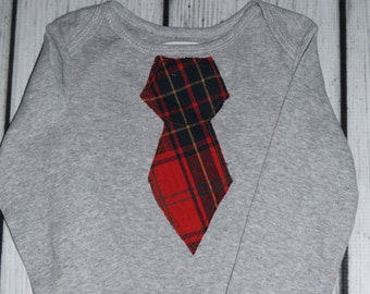 24M Gray Bodysuit: Red Plaid Tie