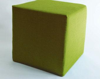 Pouf Ottoman/ Minimalistic /Green/Modern Floor Pouf /Additinal Sturdy Seating/ Unique Side table/ Foot Stool /Zigzag Studio Design