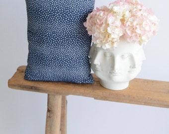 Designer Pillow/Italian Woven/Navy/Cream/Polka Dot/Lumbar Size/Handmade/Artisan/ZigZag Studio Design