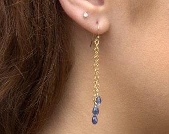 Mystic Blue Topaz and Gold Earrings Tassel Earrings Blue Stone Briolette Earrings J Dunne Studio Gift Jewelry Natural Gemstone Earrings