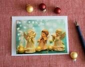 Angel band Christmas card, holiday greetings, turquoise and gold christmas, 3 angels, Christmas carols, seasonal card,