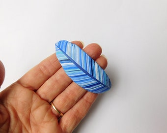 Blue Feather Bracelet Component, polymer clay feather jewelry supply