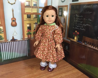 Floral Vintage Style Dress in Brown for Maryellen, Kit, Ruthie or 18 inch Doll