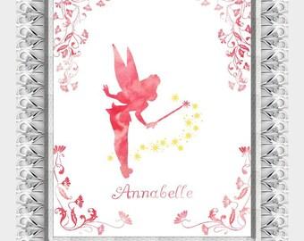 Tinkerbell Watercolor Fairytale Princess Personalized Wall Art Pink Room Decor- lovebirdslane