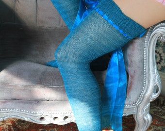 Thigh High stocking  Victorian Steampunk Edwardian OVER THE KNEE soft romantic alternative wedding gothic steampunk stockings  turquoise bow