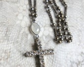 Forever More-Vintage assemblage necklace vintage cross rhinestone cross rosary necklace assemblage jewelry F363-by French Feather Design.