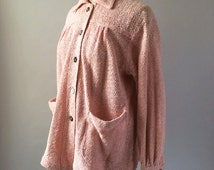 Pink 1930s Crocheted Cotton Chore Jacket Chin Loop Coat with Pockets