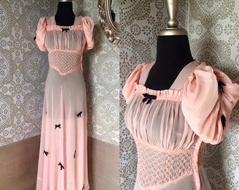 Vintage 1930's 40's Pale Pink Sheer Silk Chiffon Gown with Bow Accents S/M