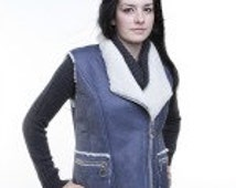 Ladies sheepskin sleeveless vest