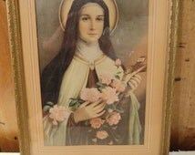 Vintage St. Therese of Lisieux, Saint Therese the Little Flower, Religious Icon Framed Wall Art Print