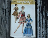 Simplicity 8875 1970s 70s Prairie Girl Square Dance Dress Vintage Sewing Pattern Size 14 Bust 36