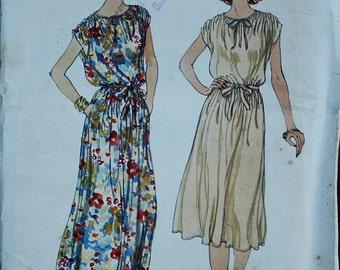 Vogue 7082 1970s 70s  Maxi Boho Dress Vintage Sewing Pattern  Size 10 Bust 32.5