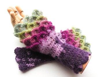 Crocodile Stitch Fingerless Gloves - Dragon Scale Gloves - Women's Sizes - Crochet Angora Arm Warmers