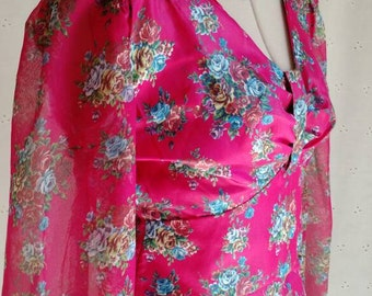 VINTAGE MAXI DRESS, Pink Floral, Wedding, Bridesmaid, Vintage Themed Wedding, Party, Special Occasion, Custom Made,