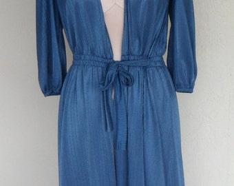 Vintage Kayser Nylon Robe Dressing Gown Blue Size Petite