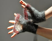 Goth Style Hand Knitted Lace Cuffs, Hand Knit Mittens, Lace Knit Mittens, Wrist Warmers, Grey Mittens,