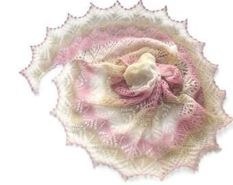 Wool Shawl, Pink Beige and Ecru Shawl, Hand Knit Scarf, Pink Knit Shawl, Hand Knit Lace Shawl, Lace Shawl