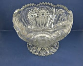 Vintage EAPG PUNCH BOWL Imperial Glass ZiPPERED HEARt Circa 1909 Footed #292 Sawtooth Rim WEDDiNG