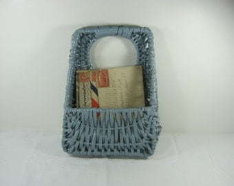 Vintage WICKER STORAGE BASKET Mail Bill Holder Blue Desk Organizer