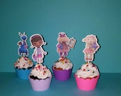 12 Doc Mcstuffin Cupcake Toppers - Doc Mcstuffin Birthday