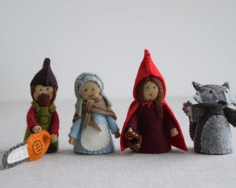 Red Riding Hood sewing pattern playset: Red Riding Hood, Grandma, Wolf and Woodsman/Woodswoman Finger Puppet sewing patterns