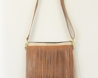 Caramel Faux leather fringe hipster with Aztec interior