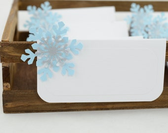Snowflake Tent Place Card, Snowflake Food Labels, Snowflake Theme Buffet Food Label, Light Blue and Silver Theme, Frozen Food Label