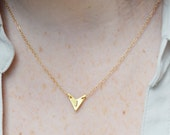 Personalized Gold Chevron Triangle Initial Nameplate Necklace
