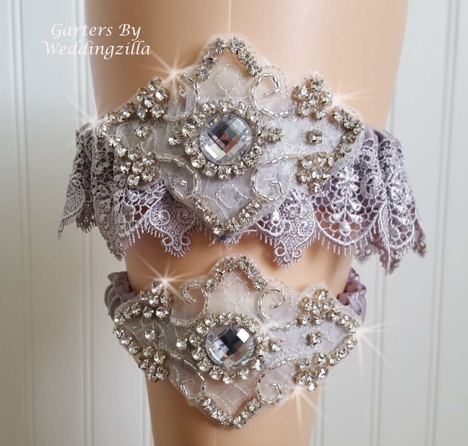 Couture Garters For Wedding: SILVER LACE Wedding Garter Set/ CRYSTAL Garter/ Couture