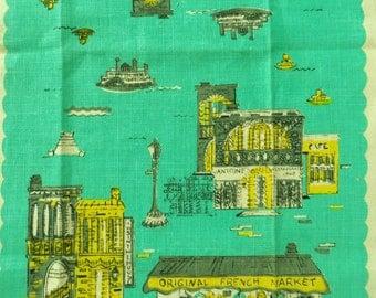 Vintage Mid Century New Orleans Linen Towel, Kitchen Towel, Screenprint Tea Towel, Retro Kitchen Accessory Unused Souvenir Towel, Mardi Gras