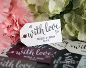 Wedding Favor Tags - With Love Custom Personalized Names & Date Tags Perfect for S'mores, Chocolate, Dessert Tags Koozie Thanks Bulk Listing