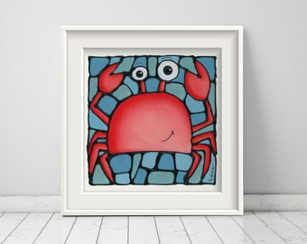 Crab Art Print - Goofy Crab on a Blue Ocean Background - Nautical Art  - 8 x 10 inch - Hand Signed by Artist Kathy Lycka