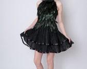 Black Feather Dress with Mandarin collar top and Tulle ballerina skirt