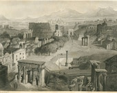 1856 Antique Print Ancient Rome, Italy Black and White Engraving