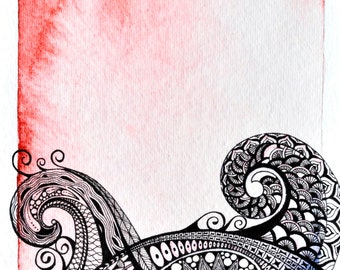 Zentangle Ocean Waves in Red & Black Watercolor with Archival Ink Yoga wall art Meditation print Customize It