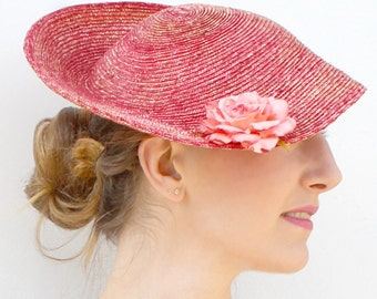 The Adelaide Saucer Hat - Strawberry Pink Saucer Hat w/ Realistic Rose - Melbourne Cup Series