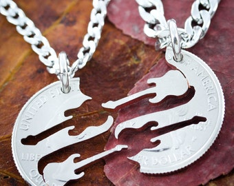 Guitar Best friend Necklaces, Band Friendship jewelry, Musical hand cut coin