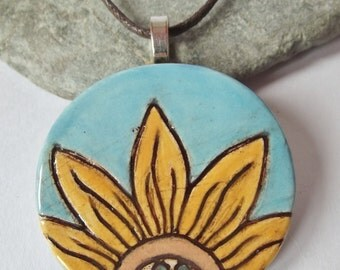 Ceramic Pottery Sunflower Pendant Necklace in a Gift Box, Artisan Pendant,  British Summer, Flower Pendant, Summer Jewelry, Summer Garden