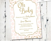 Pink and Gold Baby Shower Invitation, Gold Confetti Baby Girl Shower Invitation, Pink Gold Polka dots Digital Printable (JPD346)