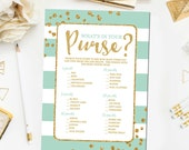 Mint and Gold What's in Your Purse Bridal Shower Games, Glitter Confetti  Bridal Shower Games, Mint Bridal Shower Game Instant Download BR14