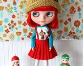 Girlish - Red Pleated Skirt Set for Blythe doll - dress / outfit