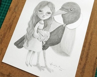 ON SALE 50% Discount, Original Drawing of a Girl and Her Friend the Crow, Vintage Inspired Pencil Drawing, Drawing of Blackbird