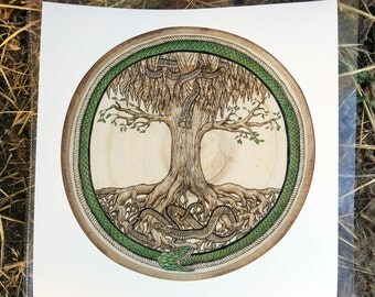 Snakes Yggdrasil Tree of Life Ouroboros Jormungand Nidhoggr Norse Viking Nordic Germanic Viper Occult Pagan Witch Pyrography Wood Burning