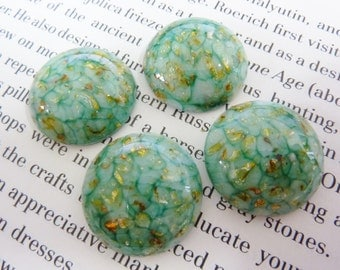 1 glass cabochon, Ø22mm, green, white, gold glitter, round