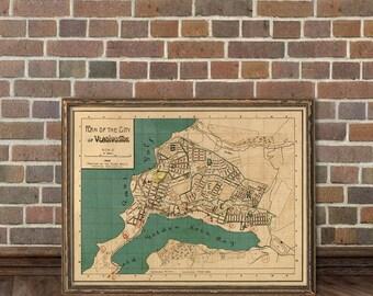 Vladivostok map - Vitage map print - Владивосток старая карта