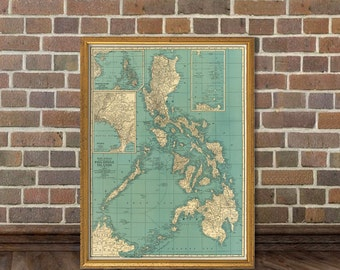 Map of Philippine  Islands - Old map  fine print